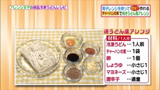 ヒルナンデス、有坂翔太のうどんアレンジレシピ(チャーハン焼きうどん)の材料