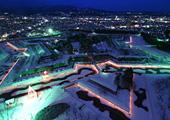 冬期にライトアップされる五稜星の夢