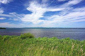北海道網走湖(呼人の湖畔から撮影)