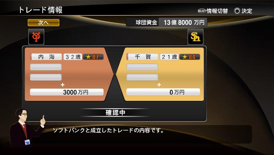 プロスピ2014 千賀トレード