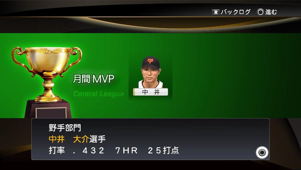 プロスピ2014 中井月間MVP