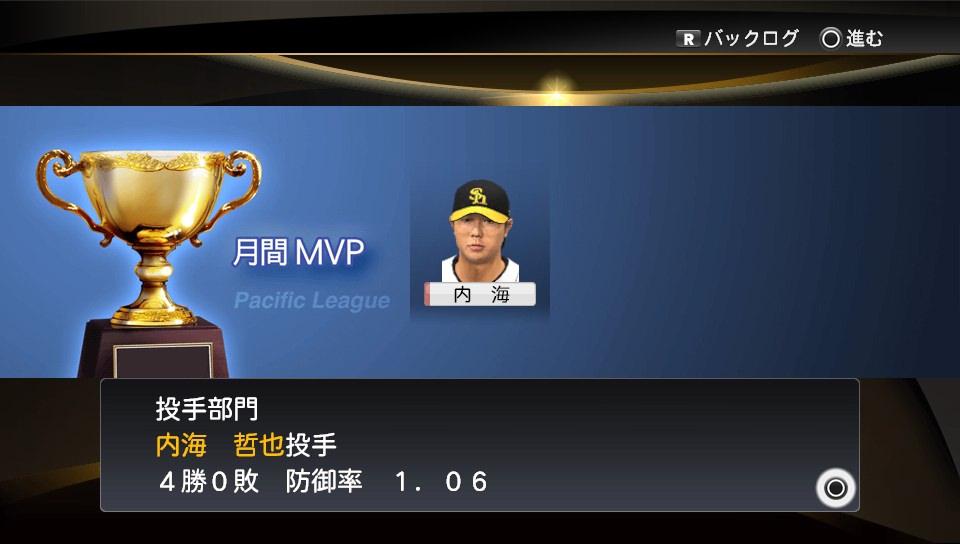 プロスピ2014 内海月間MVP