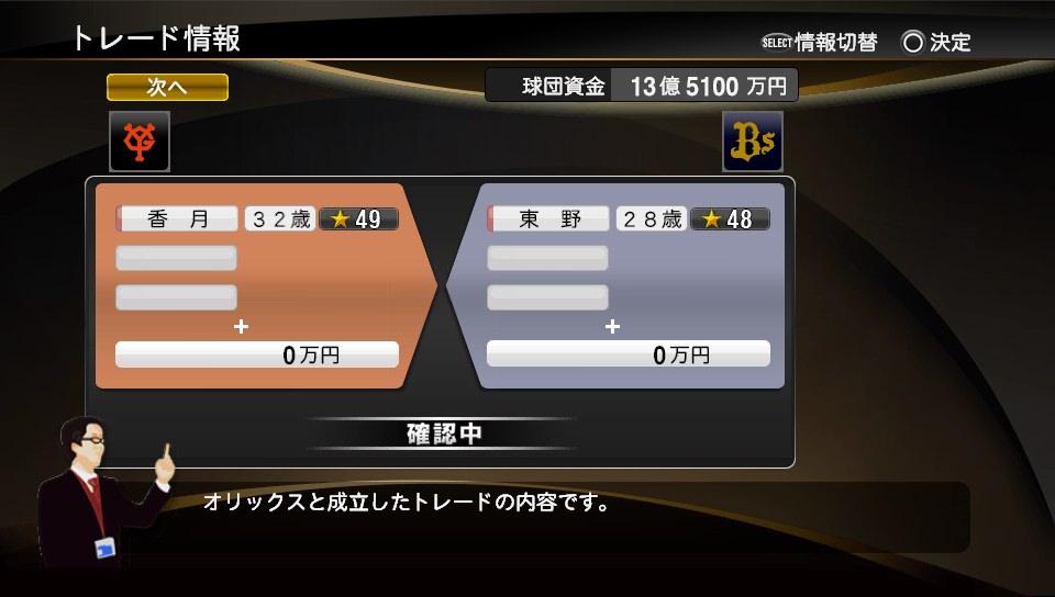 プロスピ2014 東野トレード
