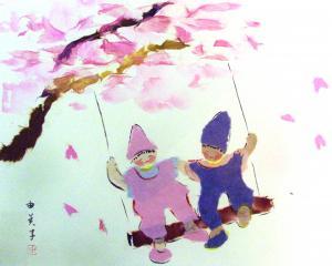 日本は桜がきれいなんだよ。