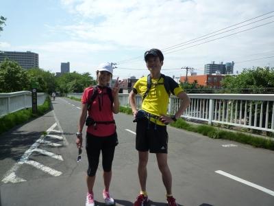 サイクリングロードゴールトキちゃんと一緒