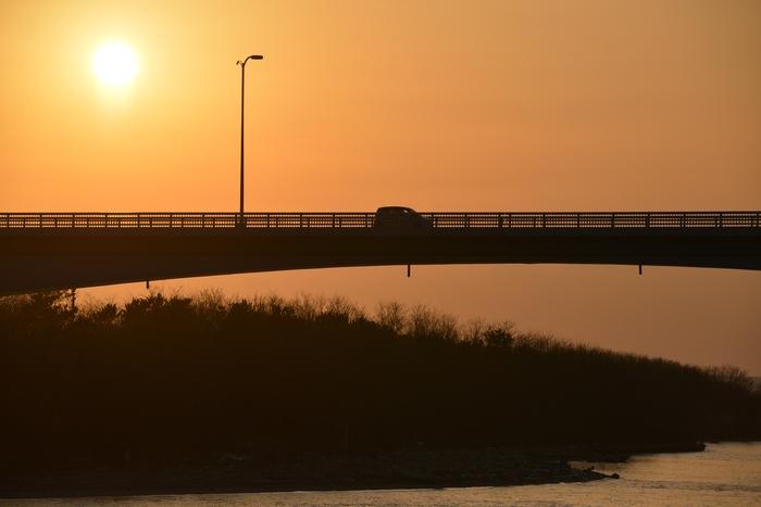 河口の夕陽-4