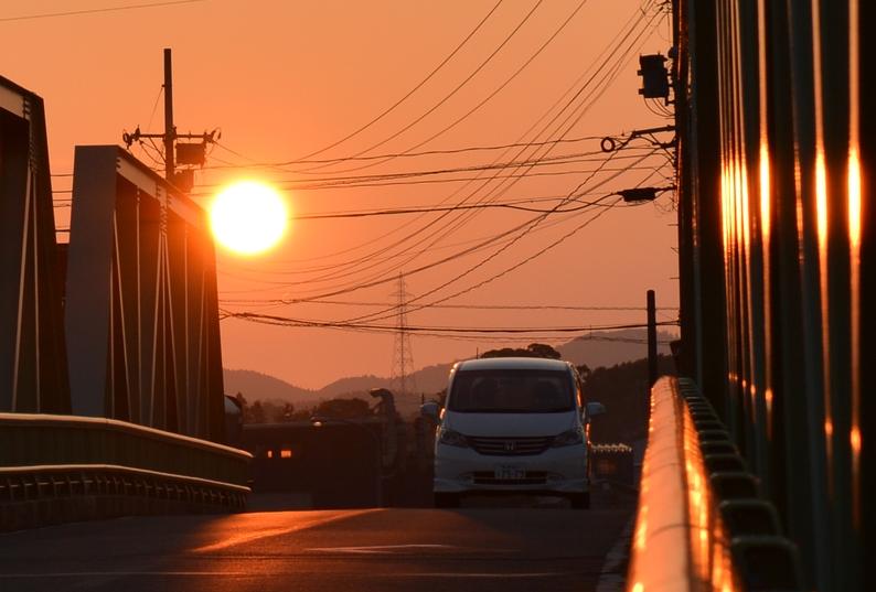 今日の夕陽 鉄橋-2