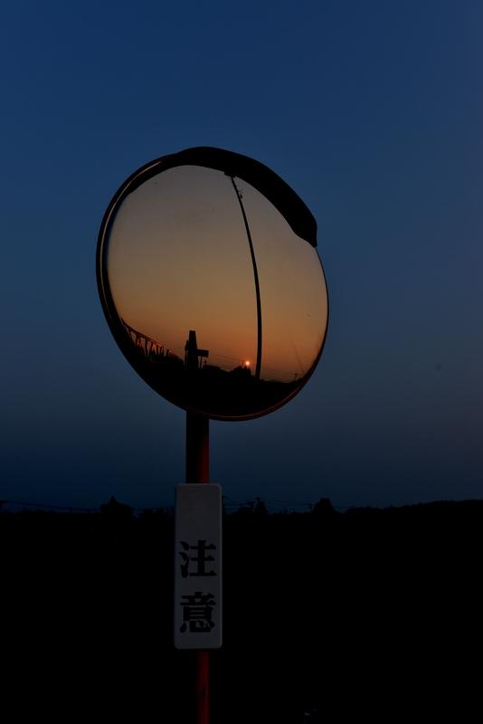 夕陽 カーブミラー-3