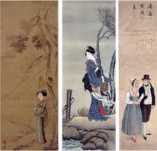 司馬江漢の月下柴門美人図