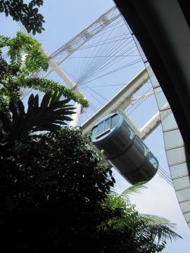 ・シンガポールフライヤーのカプセル内はベンチあり。観覧中も揺れはなく安定していました