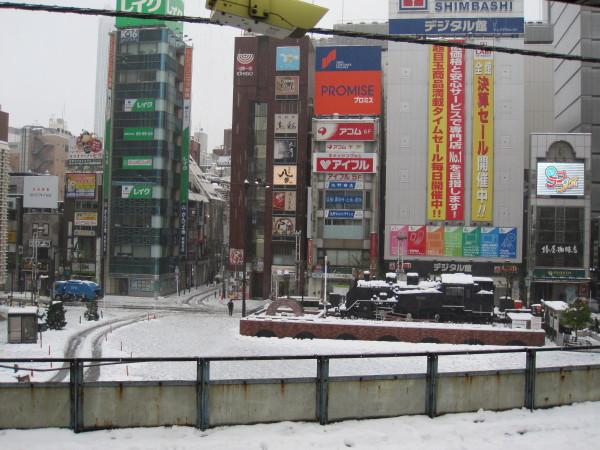新橋SL広場の雪景色