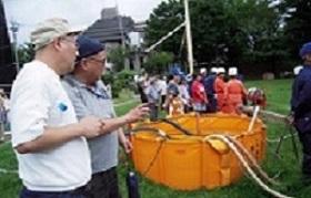 放水訓練で水を溜める