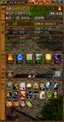 Lv305時点ステータス(プリンセス)