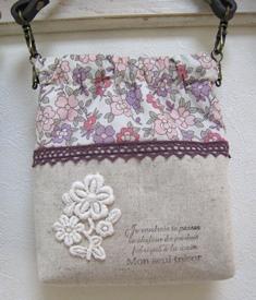 持ち手つきバネ口ポーチ-ピンク系花柄 140322
