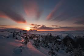 スイス冬の日の入り