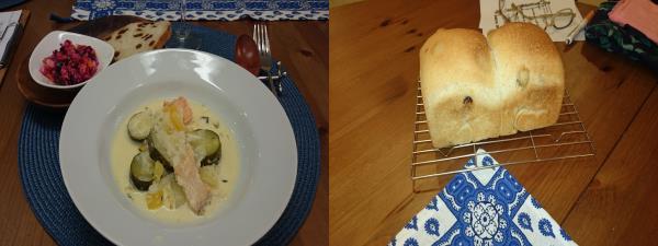 レーズンパンとお料理