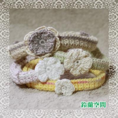 寄付用:ゆるゆる花付き編み首輪(調節部有り)