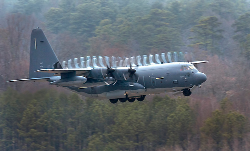 MC-130J showing propeller vortices