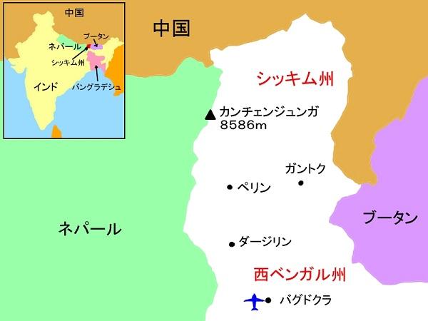 シッキムの地図 - 縮小