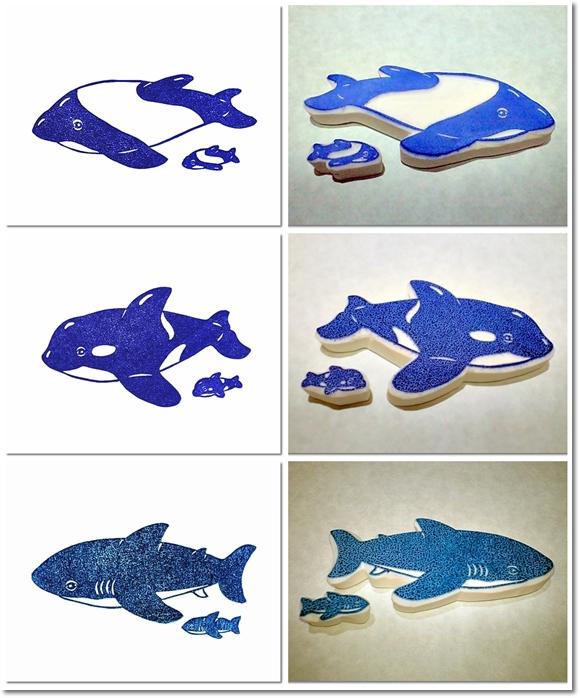 海の動物消しゴムはんこ2等×3