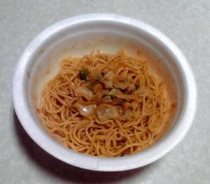 ピリ辛キムチ味スパゲッティ 桃屋「キムチの素」使用(できあがり)