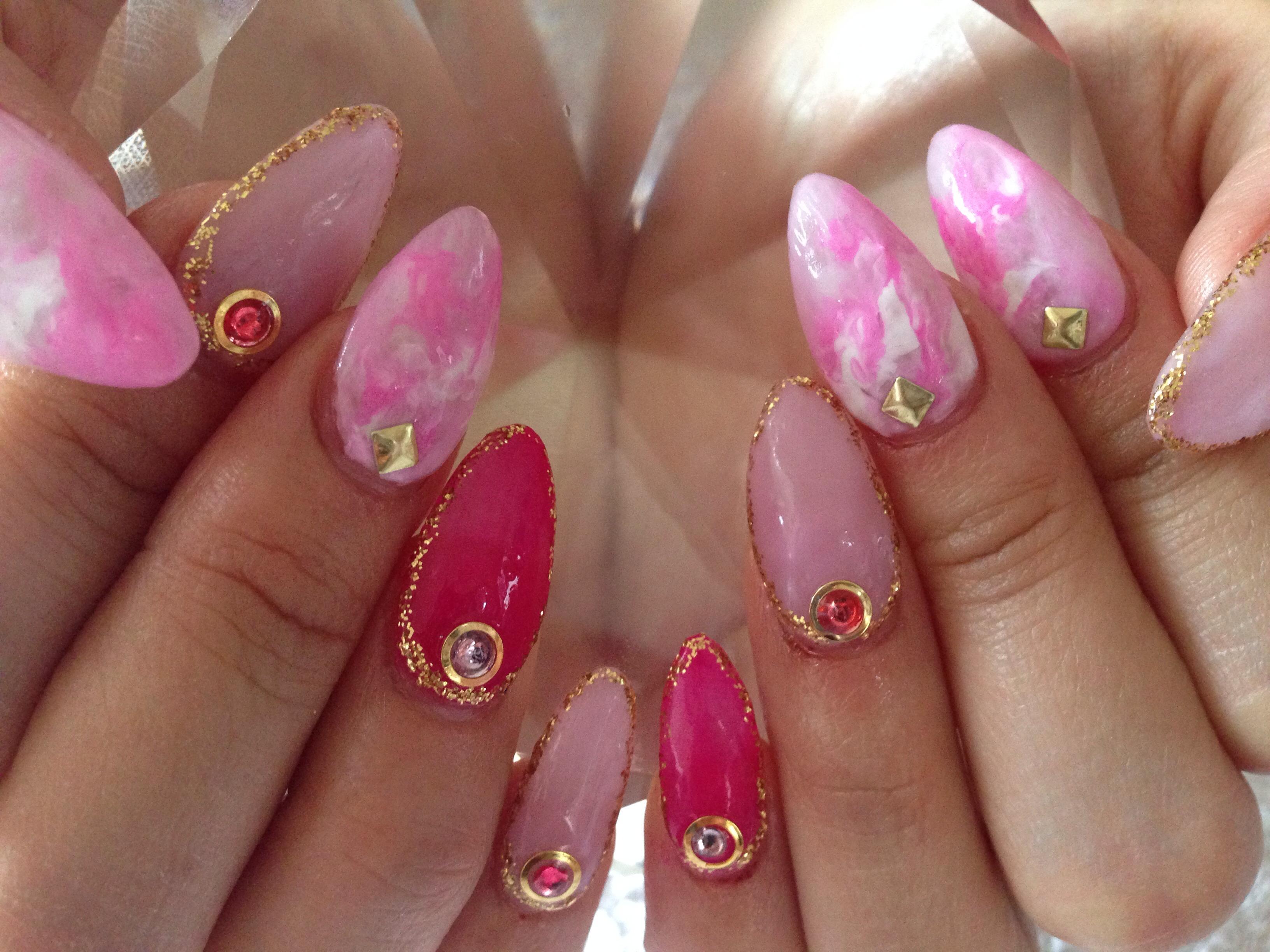 春らしい、ピンクとパープルのタイダイ柄ネイル♡( ᵕ̤ૢᴗᵕ̤ૢ )♡