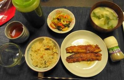 炊き込みご飯の夕食