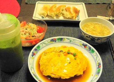 天津飯の晩ご飯