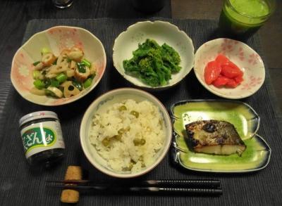 豆ご飯の夕食