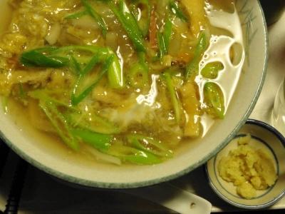 野菜あんかけ綴じうどん+おろし生姜