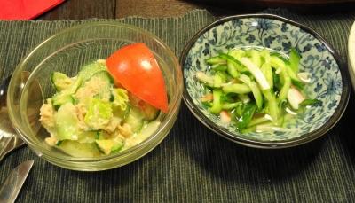 ツナサラダ・胡瓜の酢の物