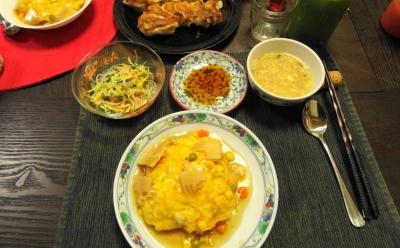 天津飯の夕食