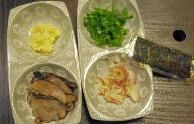 生姜、椎茸、刻みねぎ、茗荷、海苔