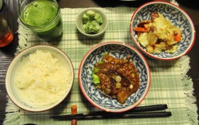 麻婆茄子とオイスターソース炒め乃夕食
