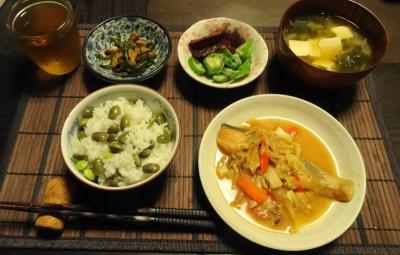 鮭のちゃんチャン焼き と 枝豆ご飯
