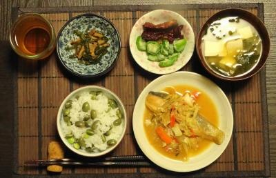 鮭のちゃんチャン焼き&枝豆ご飯の夕食