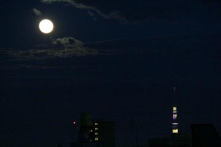 満月とスカイツリー2
