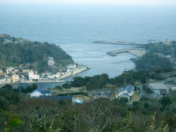 スリバチより波浮港を見下ろす