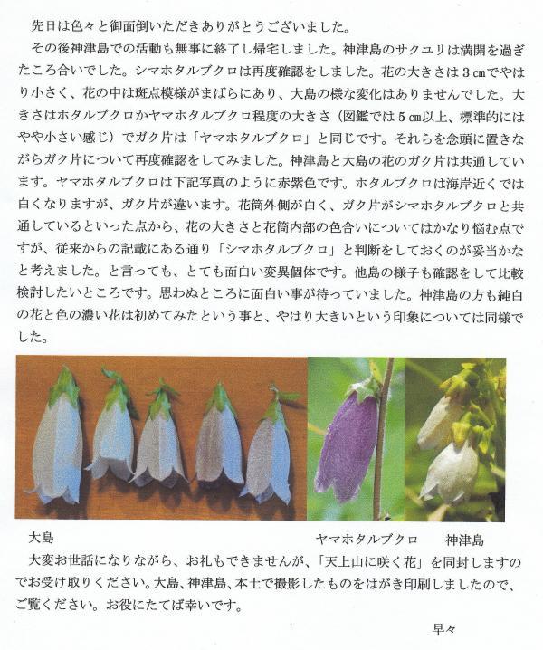 七島花の会 神津島の 石橋 正行さんからいただいた手紙です。