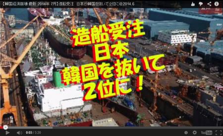 【動画】造船受注日本が韓国を抜いて2位に [嫌韓ちゃんねる ~日本の未来のために~