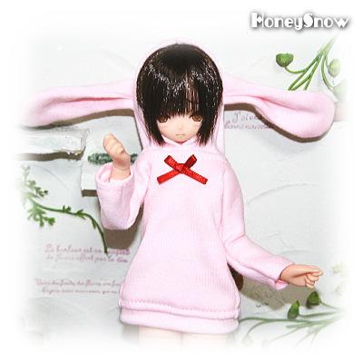 1/6DOLL 【ルームウェア】 ウサ耳 服 えっくすきゅーと、もこちゃん、オビツ21-27cm