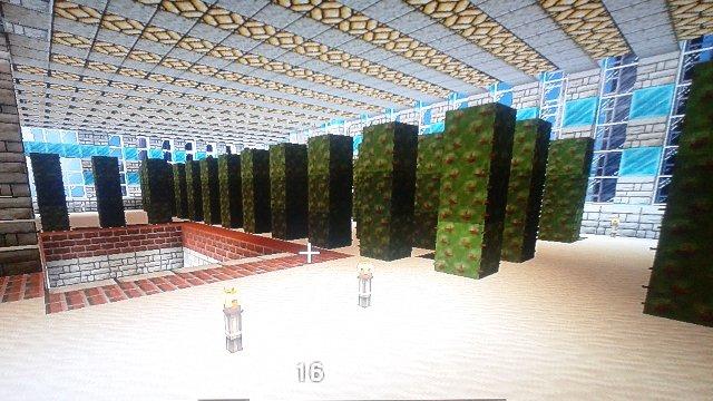 順番が逆になちゃってますが、11階に設置したサボテン畑。フロア全体を砂漠化。サトウキビ、サボテン、ミニピラミッドなんかを置いて演出。