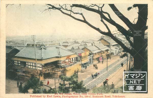 上野の山から見た三橋/鬼瓦の屋根の店が雁鍋 明治中期~後期