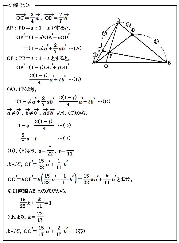 例題75 ベクトル 1直線上にある点のベクトル 解答