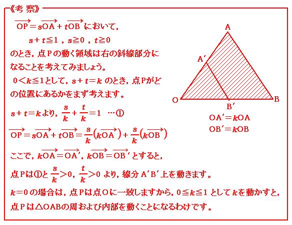 ベクトル 三角形の内部の点 考察