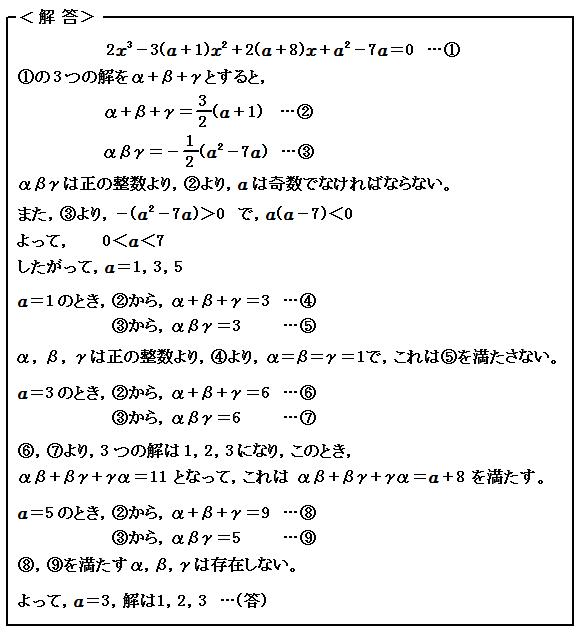 演習50 方程式 3次方程式の解と係数の関係 解答