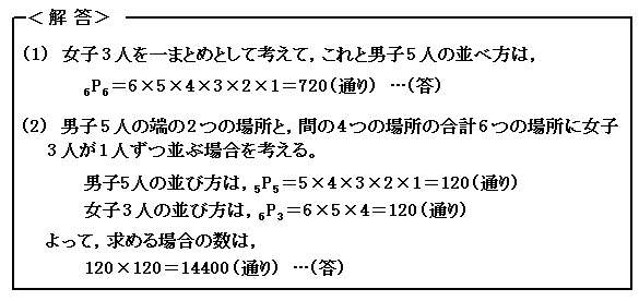 場合の数と確率 順列 例題34 解答