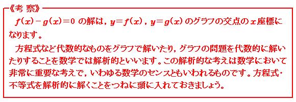 関数 グラフを用いて方程式・不等式を解く 考察