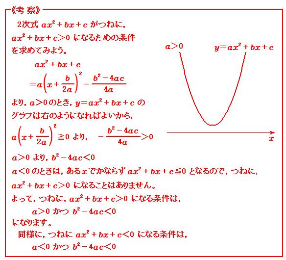 関数 つねに成り立つ2次不等式 考察