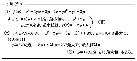 関数 変域のある2次関数の最大・最小 演習19 解答